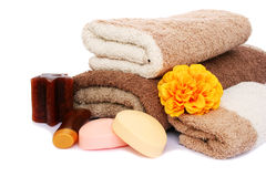 Towels and spa set Royalty Free Stock Images
