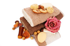 Towels and spa set Stock Photos