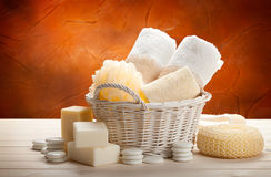 Towels, sponge and soap bar Royalty Free Stock Photo