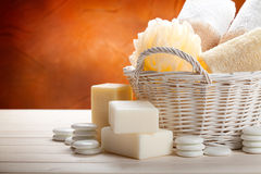 Towels, sponge and soap bar Stock Photography