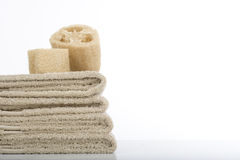 Towels and sponges Stock Photo