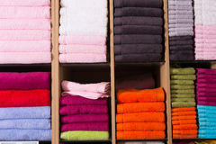 Towels stack in shop Royalty Free Stock Images