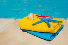 Towels at the swimming pool Stock Photography