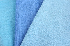 Towels texture. Three blue  towels texture as a  background Stock Images