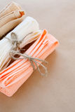 Towels tied with ropes, top view Stock Photos