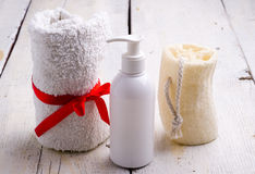Towel and toiletries Royalty Free Stock Photo