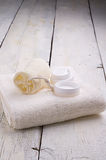 Towel and toiletries Stock Photography