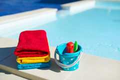 Towels and toys Royalty Free Stock Photography
