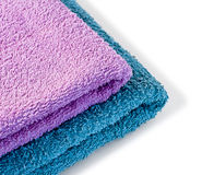 Towels. Two colored towels on white background Stock Photography