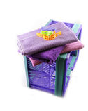 Towels washed in plastic crate isolated Royalty Free Stock Image