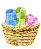 Towels in Wicker Basket IV Stock Photography