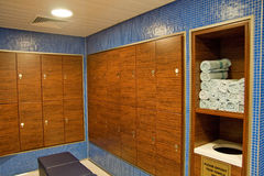 Towels and Wood Lockers in a Spa. Stock Images