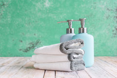 Towels on the Wooden in bathroom Royalty Free Stock Images