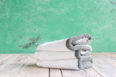 Towels on the Wooden in bathroom Royalty Free Stock Photography