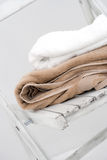 Towels on wooden chair Royalty Free Stock Image