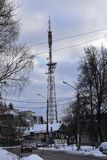Tower — high support tower or mast on which are mounted transmitting antennas television. And radio transmitters television transmitting center Royalty Free Stock Images