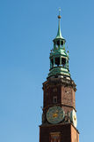 The tower. Church tower in Wroclaw, Breslau, Poland Royalty Free Stock Image
