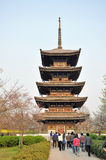 Tower. Cherry blossom garden in Wuhan city east Lake Stock Photo