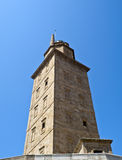 Tower. View of an ancient tower. Serves as a beacon with a height of 68 meters. Seen in A Coruña, Spain Royalty Free Stock Photos