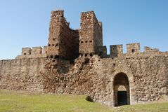 Tower 22. Ruins of old castle Smederevo on Danube in Serbia built Royalty Free Stock Photos