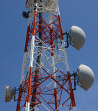 Tower. Detail of an array of antennas from a transmission tower stock photo