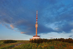 Tower. It is impressively lit tower on mountain peak Royalty Free Stock Photo