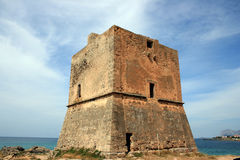 Tower. Norman tower in Sicily against a blue sky in Italy Stock Photo