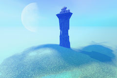 The Tower. A palace sits on a tower as a lookout post for this fantasy kingdom Royalty Free Stock Image