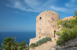 Tower above Sant Elm. Old tower in the mountains above Sant Elm, Majorca royalty free stock image