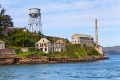 Tower and administrative buildings ruins Alcatraz Stock Photo