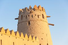 A Tower in Al Jahli Fort. A tower in  the iconic Al Jahli Fort in Al Ain, the largest inland town in the United Arab Emirates Stock Images