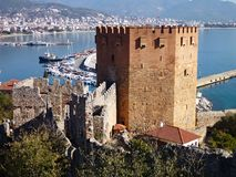 The tower of alanya castle Royalty Free Stock Images