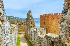 The tower among Alanya fortress ruins royalty free stock photos