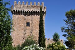 Tower of Alarcon Castle in Spain Royalty Free Stock Photos