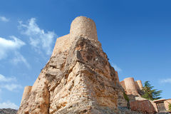 Tower of Albarracin's castle, Teruel, Spain. Stone tower of Albarracin's medieval castle on a rock outcrop, province of Teruel, Aragon Spain Royalty Free Stock Image
