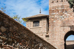 A tower at Alcazaba of Malaga Royalty Free Stock Photo