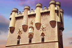 Tower of Alcazar of Segovia at sunset Stock Photos