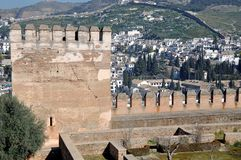 Tower of Alhambra Palace in Granada Royalty Free Stock Image