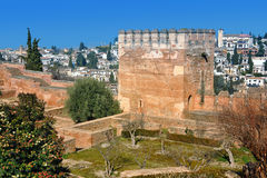 Tower of Alhambra Palace in Granada Stock Images