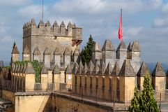 Tower of Almodovar Del Rio medieval castle in Spain Stock Images