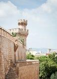 Tower of Almudaina Palace. In Palma de Mallorca, Majorca, Balearic Islands, Spain Stock Photos