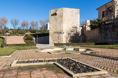 Tower of Alvar Fañez. View of the tower of Alvar Fañez from the park, defensive fortress in Guadalajara, Spain Royalty Free Stock Photo