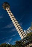 Tower of the Americas. Is a 750-foot (229 m) observation tower with a restaurant in San Antonio, Texas. , designed by San Antonio architect O'Neil Ford, was stock image