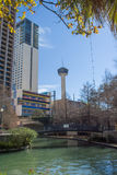 Tower of the Americas and River Walk in San Antonio,  Texas Royalty Free Stock Photos