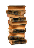 Tower from ancient books. Isolated over white background Royalty Free Stock Images