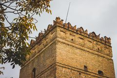 Tower of the ancient castle castle in the city of Lutsk, Ukraine royalty free stock photos