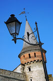 Tower of the ancient castle and lantern Stock Photos