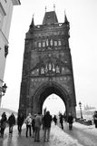 Tower of ancient Charles Bridge in Prague Stock Photography
