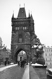 Tower of ancient Charles Bridge in Prague Royalty Free Stock Photos