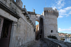 Tower in the ancient city wall of the historic city Korcula in Croatia Stock Images
